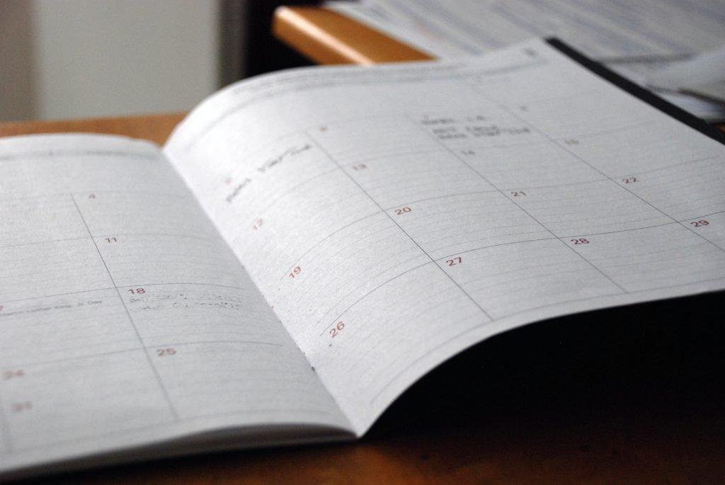 Calendario para las actividades importantes