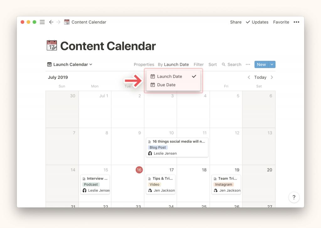 Cambiar entre calendarios