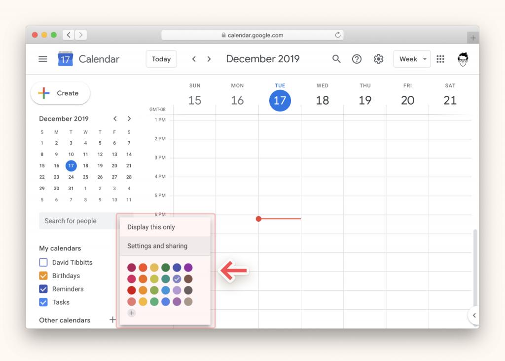 menu configurar y compartir google calendar Notion