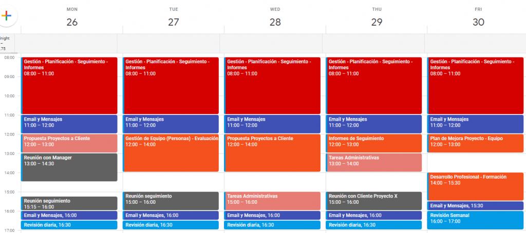 Calendario profesional