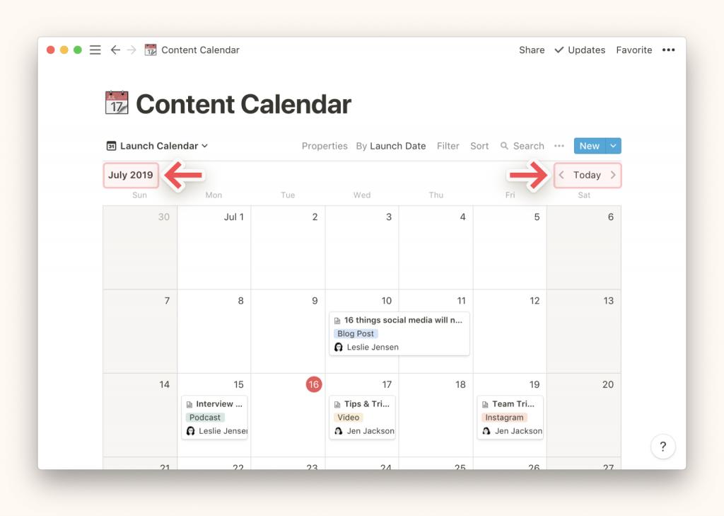 Visualizar otro mes en un calendario Notion