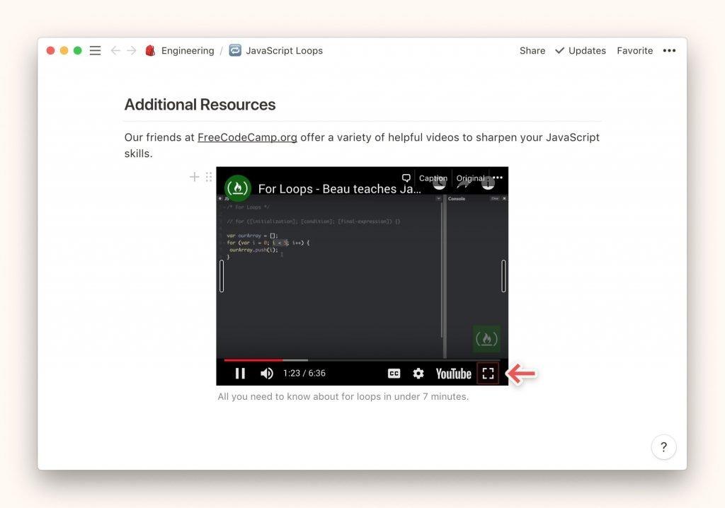 Reproducir un video Notion en pantalla completa